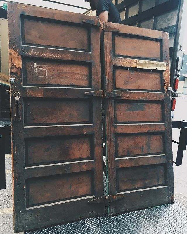 Old fire doors from a building in Belltown  #ballardreuse #seattle #washington #belltown #doors #door #firedoor #5panel #patina #set