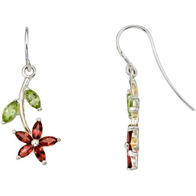 2 1/5 CT Multi-Gemstone Sterling Silver Floral Earrings