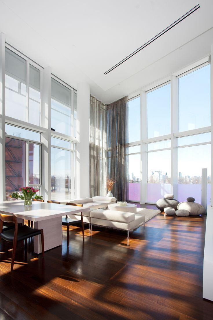 Living RoomBachelorette Pads, High Ceilings Decor, White Living Rooms, Dreams Home, Decor Ideas, Floors, Decorating Ideas, Interiors Design, Windows