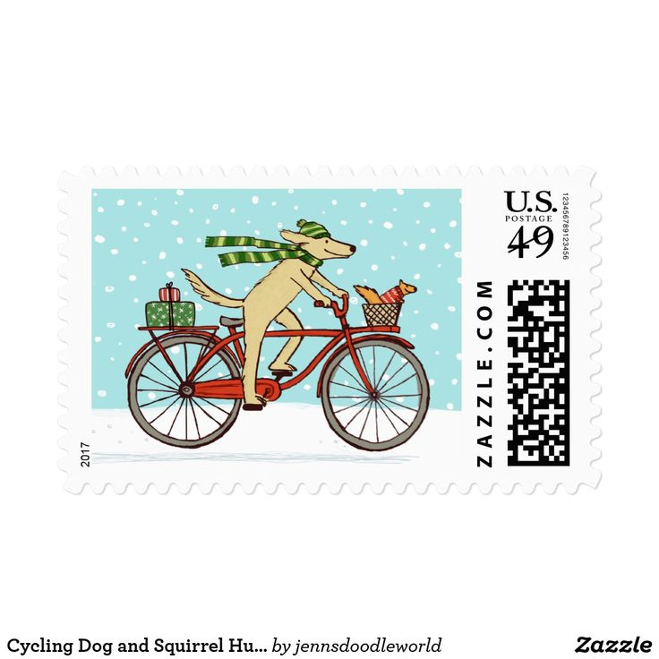 Cycling Dog and Squirrel Humorous Holiday