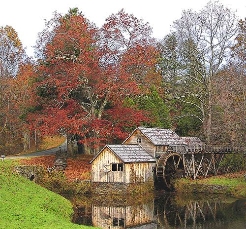 Country barn and water wheel