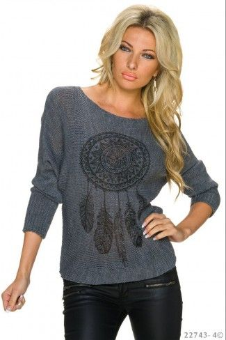 Πλεκτό πουλόβερ με print - Σκούρο Γκρι