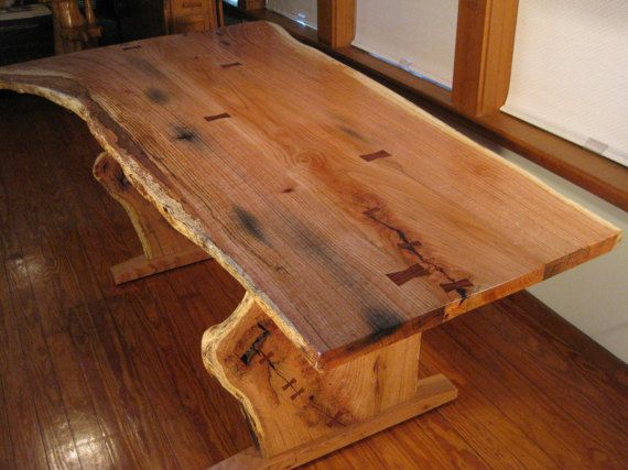 Live Edge Quartersawn Red Oak Cherry Trestle Dining Table With
