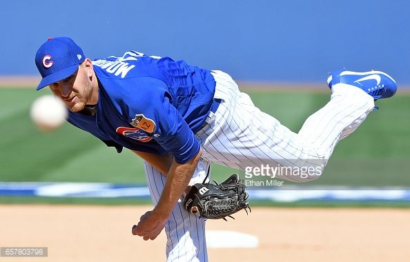 News Photo : Mike Montgomery of the Chicago Cubs pitches...