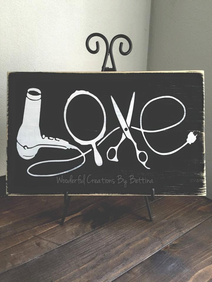 Rustic Wooden Sign, Love, Hairstylist, Wooden Sign, Rustic Wall Décor, Wood Sign, Hair Stylist Gift, Stylist by WCbyBettina on Etsy https://www.etsy.com/listing/229259979/rustic-wooden-sign-love-hairstylist