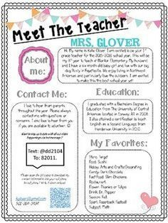 Allow parents and students the opportunity to get to know their teacher better by giving them this Editable Meet The Teacher Night Handout at Open House, or send home on the first day of school with your welcome packet.                                                                                                                                                                                 More