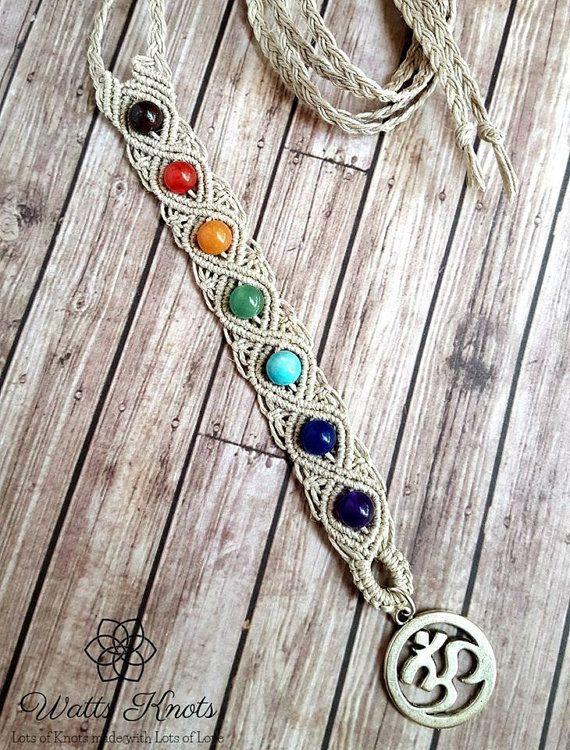 Natural Hemp Chakra Gemstone Necklace, Balance Necklace, Harmony Jewelry, Chakra Jewelry, Hemp, Yoga, Om, Aura, Energy, Healing Crystals