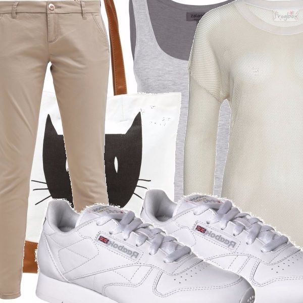 Pantaloni a sigaretta color sabbia, canotta color ecru in cotone, maglioncino in cotone a maniche lunghe color corda, scarpette bianche con lacci, borsa con profili marroni e stampa