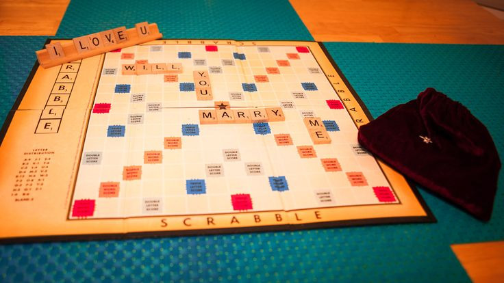 on a scrabble board: Creative Marriage, Game Lovers, Creative Proposals, Scrabble Marriage, Board Games, Scrabble Board, Marriage Proposals