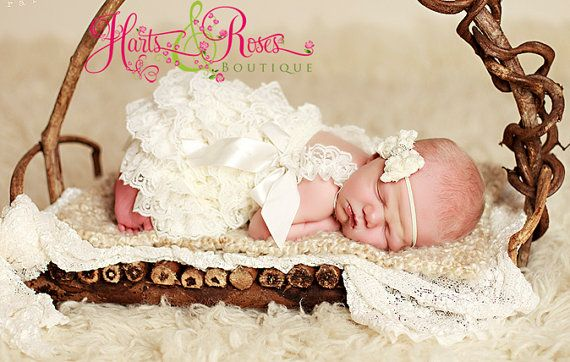 Or for newborn photos....Baby Girl Coming Home Outfit.Petti lace by HartsandRoses on Etsy, $15.95