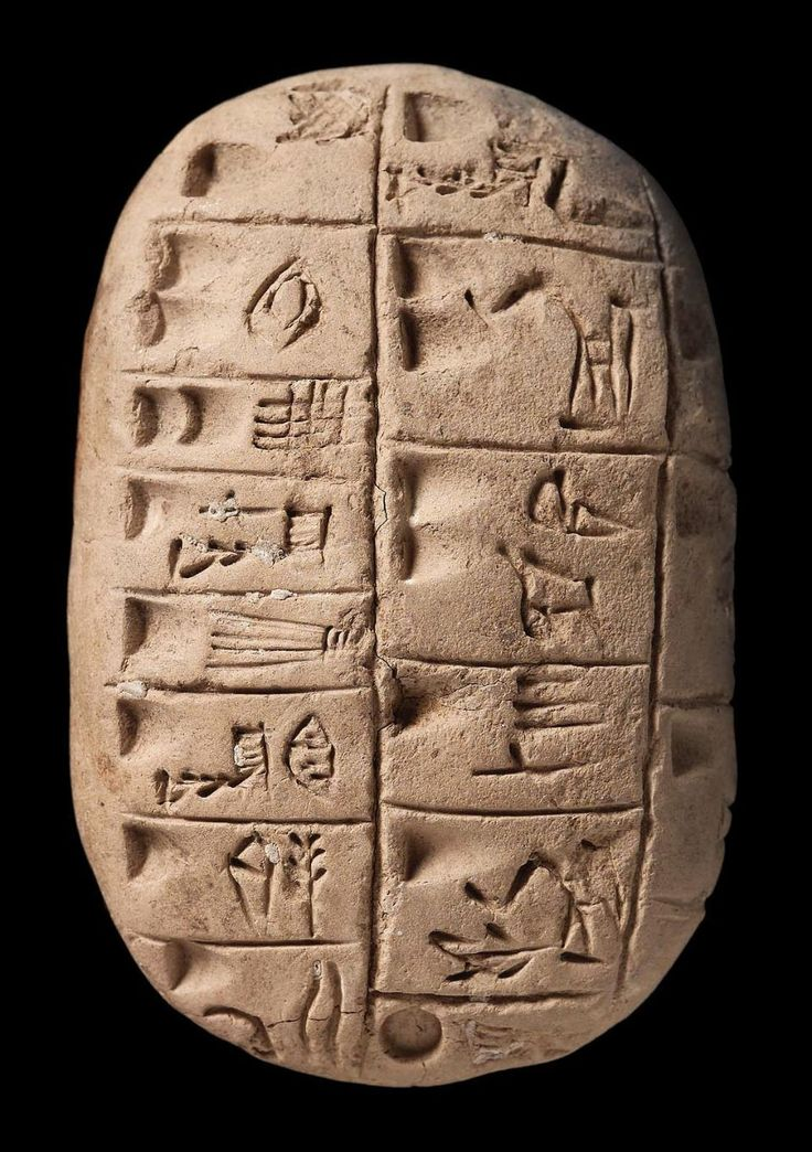 Tablet with pictographs Near Eastern Mesopotamian Uruk