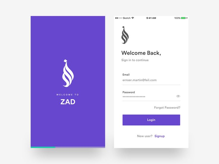 Login & splash screen - ZAD App iOS