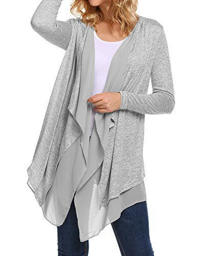 b14ccffc9d ACEVOG Women s Casual Open Front Trench Knit Cardigan Jac... https