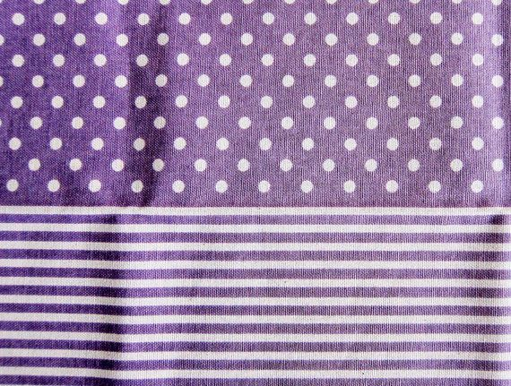 Dots and Stripes on Purple - Japanese Cotton/Linen Blend - Half Yard