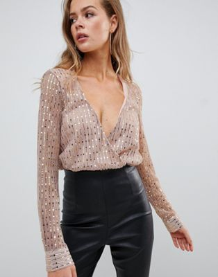 683b2210cba5 Missguided sequin plunge long sleeve body in gold Night Out Tops, Gold  Bodysuit, Missguided