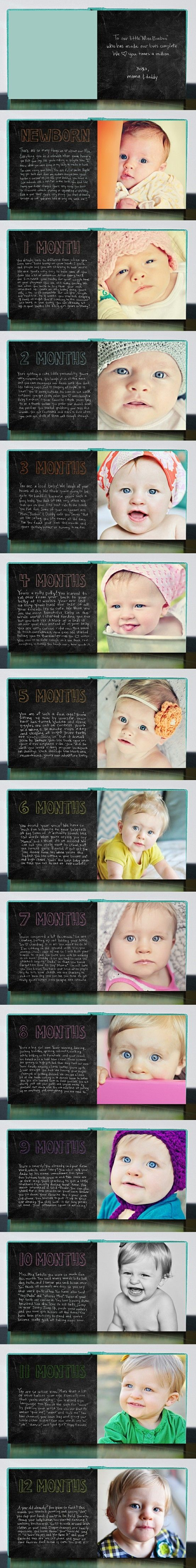 Month by month baby book. With baby girl's first birthday coming up I've been trying to decide what to do for a baby book. Love this idea.