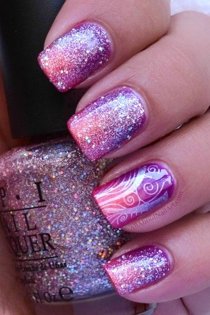 Nail art designs www.finditforweddings.com Glitter pink and purple Nails