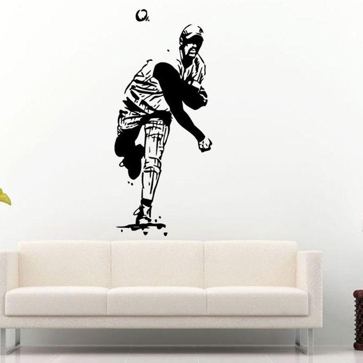 Бейсбол Автомобиль Кувшин Окна Стикер Имя Спортивные Наклейки Плакаты Стены Винила Наклейки Настенной Росписи Декора Бейсбол Стикер