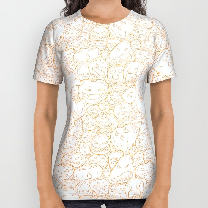 Pumpkin Halloween line pattern All Over Print Shirt by StrijkDesign | Society6