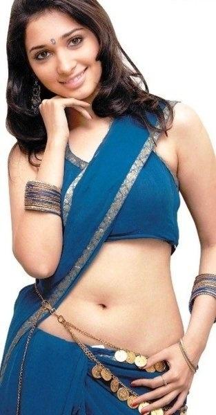 Tamanna Bhatia in dark blue saree showing her naval