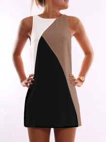 White Black Sleeveless Color Block Dress US$14.99