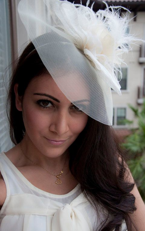 Alexandra Large Ivory Couture English Hat Fascinator Headband for Weddings, Parties, special Occasions. $68.00, via Etsy.