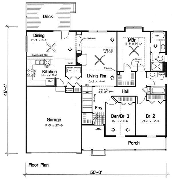 Stairway In Foyer HallFirst Floor Plan Of Bungalow Country Southern Traditional House 24721