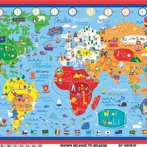 Jill McDonald - What A World - World Map Panel in Blue