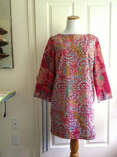 Busy Fuchsia Batik Tunic Dress - Butterick B5415