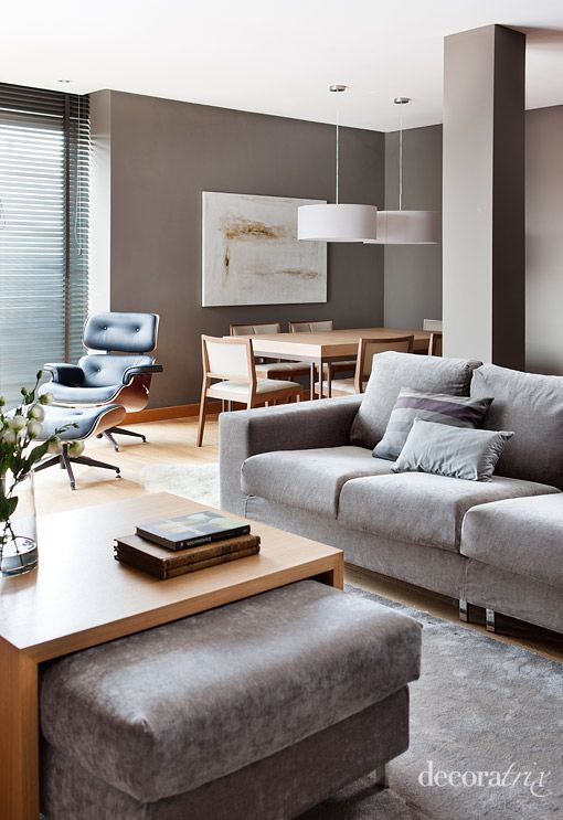 Pretty modern room - light wood with lots of gray.