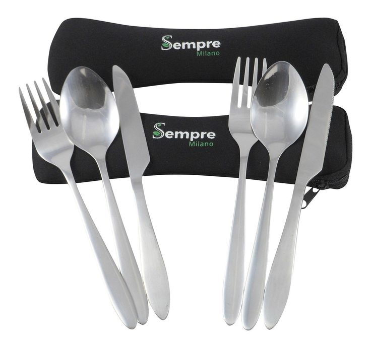 Camping Travel Cutlery Set in Case To Go. 3 Piece Stainless Steel Utensils (K...