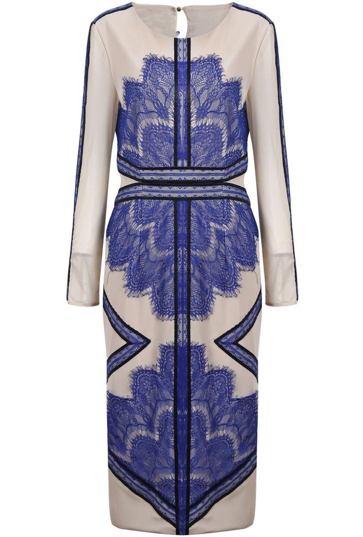 Blue Long Sleeve Contrast PU Leather Lace Split Dress US$66.10