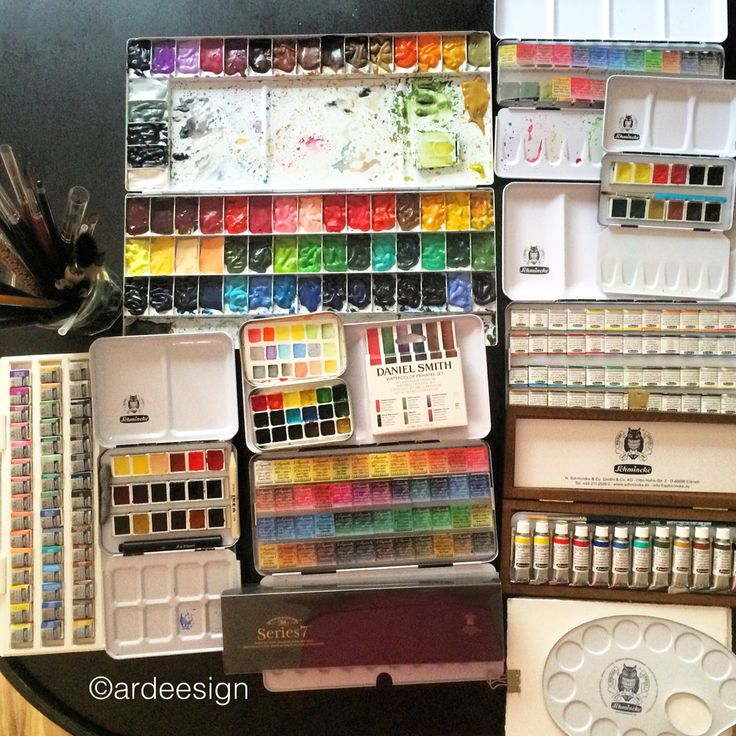My watercolor collection. Not pictured are my Daniel Smith and W&N Artist tubes, my Van Gogh and Koi field sets.
