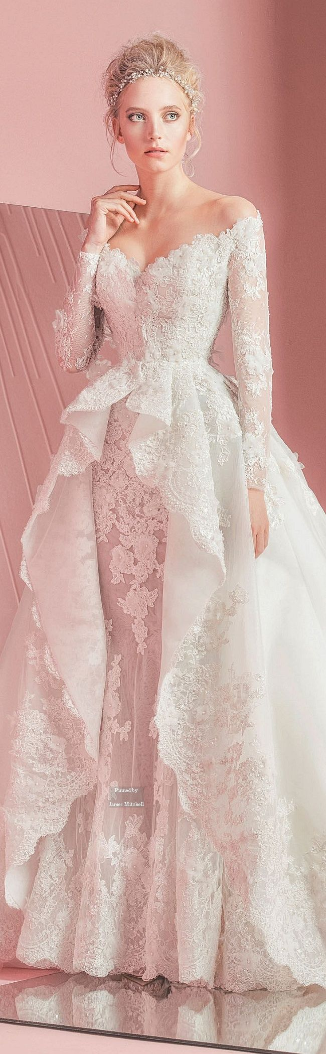 Zuhair Murad Bridal Spring-summer 2016 - Bit too fussy with all of the lace would have less lace and more duchess satin maybe and probably just have off shoulder straps not full lace sleeves but this is very pretty.