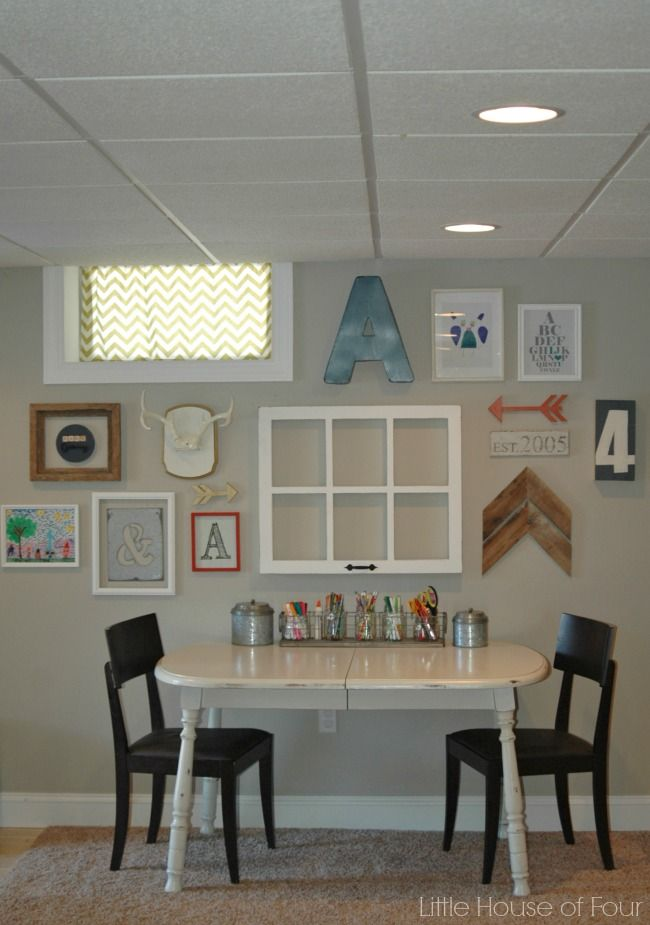 Creating a gallery wall around an oddly placed basement window