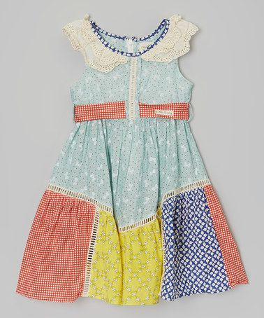 Look what I found on #zulily! Green Flower & Check Lace-Collar Dress - Toddler & Girls by Little Anmy #zulilyfinds