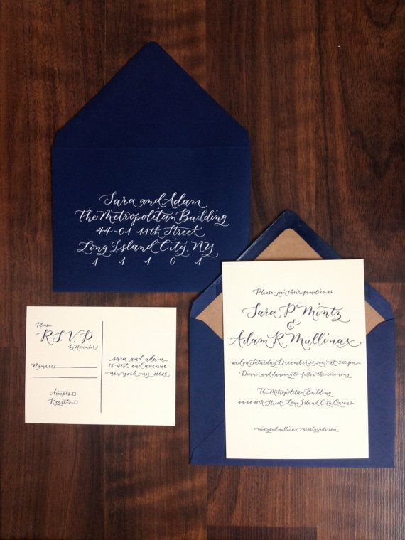It's all about the Blu Elegant Modern Calligraphy Letterpress Invitation  by AngeliqueInk