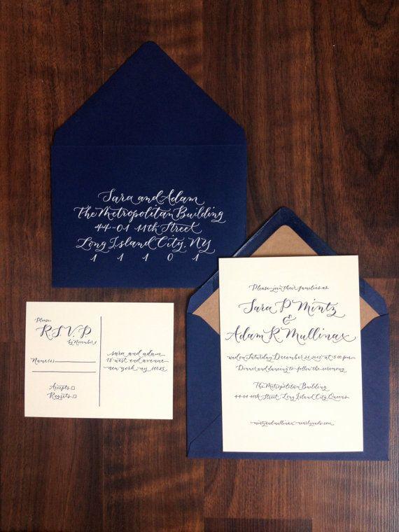 Elegant Modern Calligraphy Letterpress Invitation  by AngeliqueInk