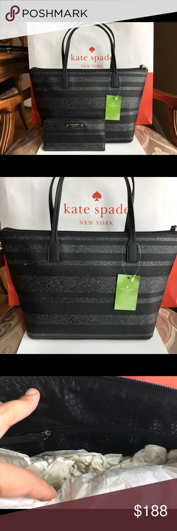 "🍀Kate Spade Hani Small Tote and black Wallet🍀 Brand new Kate Spade Hani tote bag and matching wallet  Color: Black/ striped Glitter Beautiful tote small bag with matching wallet. It comes with care instructions and tags  Bag measurements: 14.5""x 9""x 5"" with 6.25"" handle drop Pattern: Striped Glitter It has top zip. Inside has a big zip pocket and two small pockets Retail:$169  Wallet measurements: 3.5""x 6.75"" Gold hardware with snap closure Coin zip pocket on the outside 12 credit cards…"