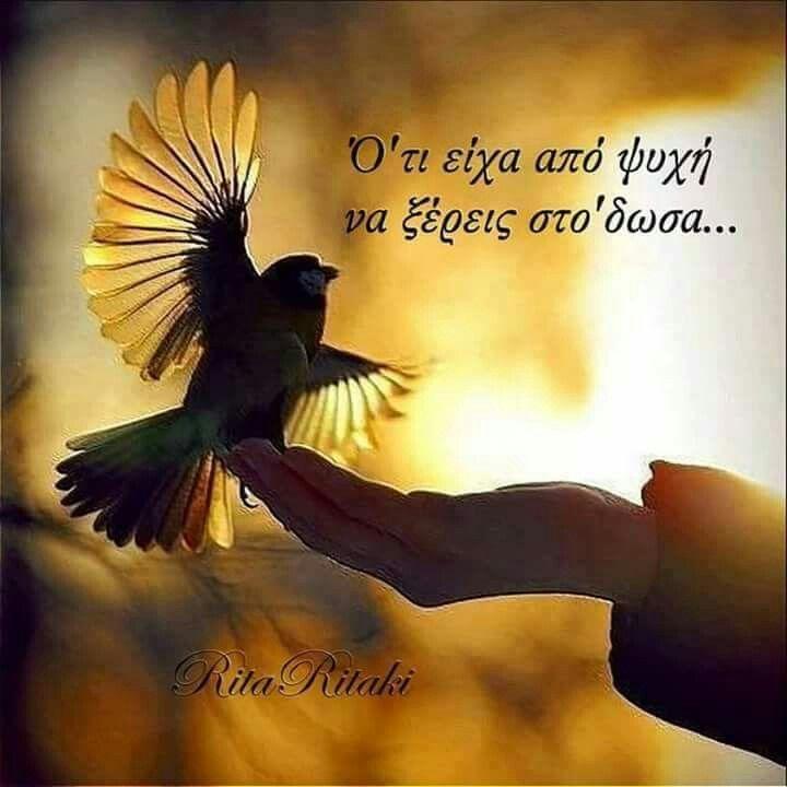 Αν σε θέλω, σου κόβω τα φτερά και σ αφήνω πλάι μου..για πάντα..Αν σ αγαπώ, χαίρομαι να βλέπω τα φτερά σου να μεγαλώνουν..κι απολαμβάνω το πέταγμά σου...Χόρχε Μπουκάι