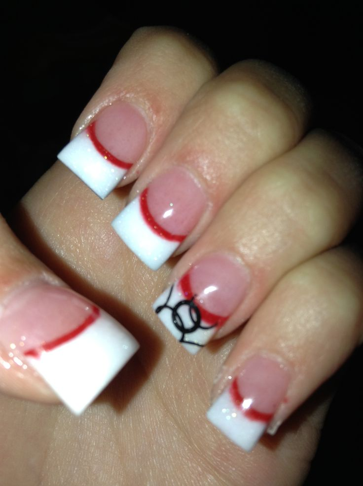 White nails with red line and black design on ring finger nails white nails with red line and black design on ring finger nails pinterest ring finger white nails and hair makeup prinsesfo Gallery