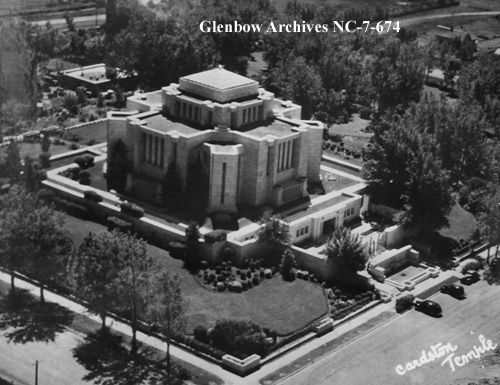 File number: NC-7-674 Title: Aerial view of Mormon temple, Cardston, Alberta. Date: [ca. 1930-1949]