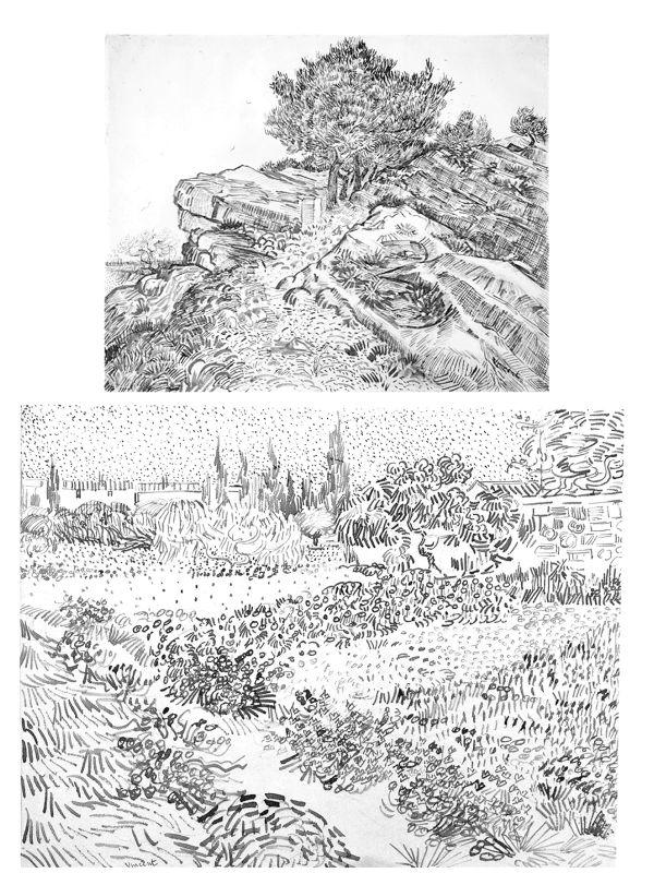 Line Drawing Landscape : Best images about vincent van gogh line on pinterest