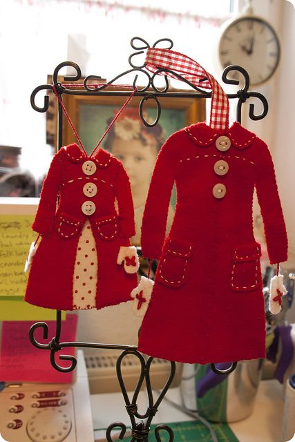 wool felt red coat ornament by parrishplatz, via Flickr