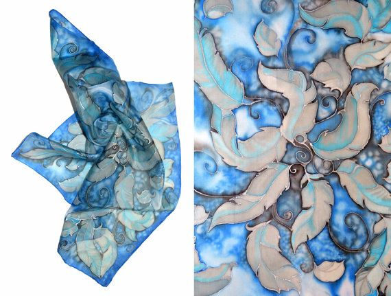 Hand-painted silk scarf  Feathers in the wind square by JankaLart
