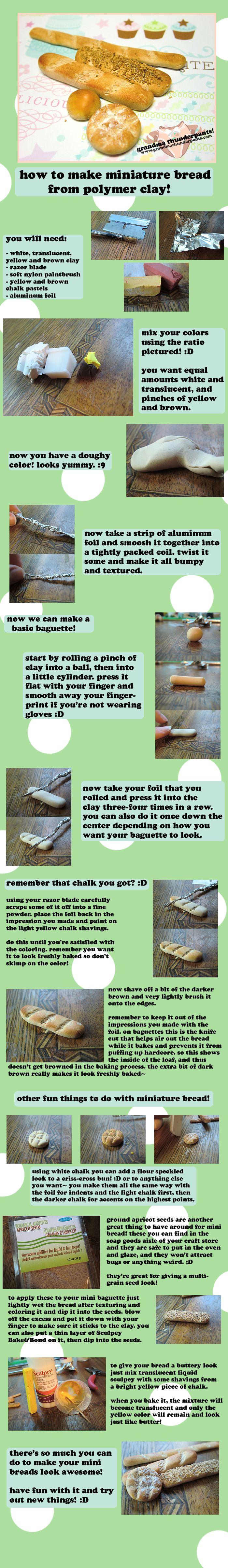 Miniature Clay Bread TUTORIAL by *GrandmaThunderpants on deviantART