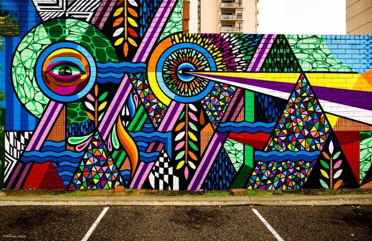 Beastman & Vans the Omega (2014): Multicoloured wall mural, located in the open air car park on Murray St