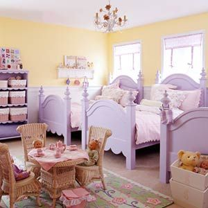 Creative Ideas for Shared Spaces: Girls Only (via Parents.com)  Purple and yellow bedroom