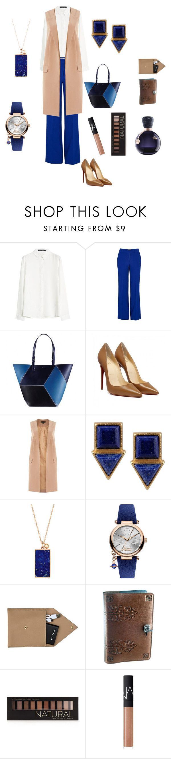 """""""nude vest"""" by senyoritacuba ❤ liked on Polyvore featuring Essentiel, Lipsy, First People First, Ginette NY, Vivienne Westwood, STOW, Forever 21, NARS Cosmetics and Lacoste"""