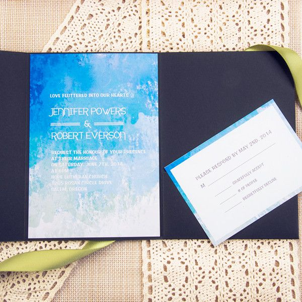 summer ombre blue watercolor pocket wedding invitations